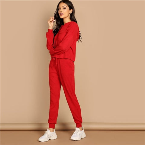 2353c3c0fb SHEIN Red Pocket Patched Solid Hoodie and Drawstring Waist Pants Plain –  Grace and Elegance