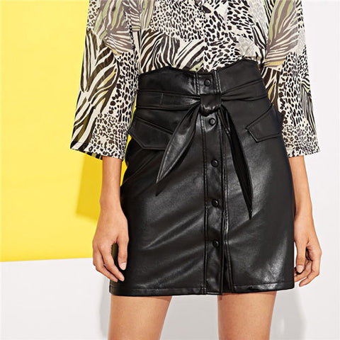 ea6036d29c SHEIN Single-Breasted Button Up Faux Leather Skirt With Belt Women Min –  Grace and Elegance