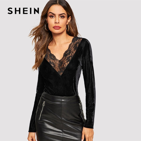 ae74e0918c SHEIN Sexy Black Contrast Lace Insert Solid Velvet Top Women V Neck Long  Sleeve Slim Fit
