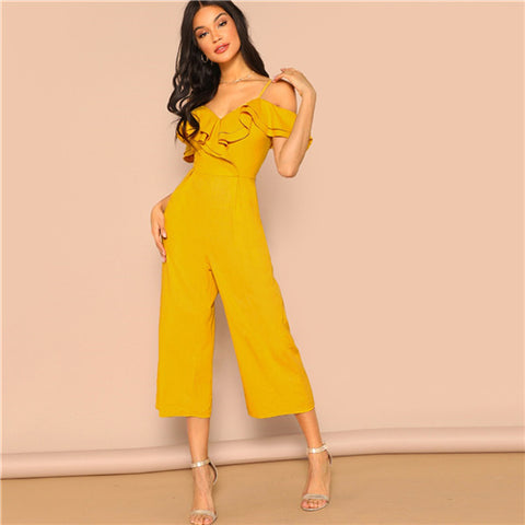 03731273f5 SHEIN Cold Shoulder Layered Flounce Foldover Palazzo Jumpsuit Party Ru –  Grace and Elegance