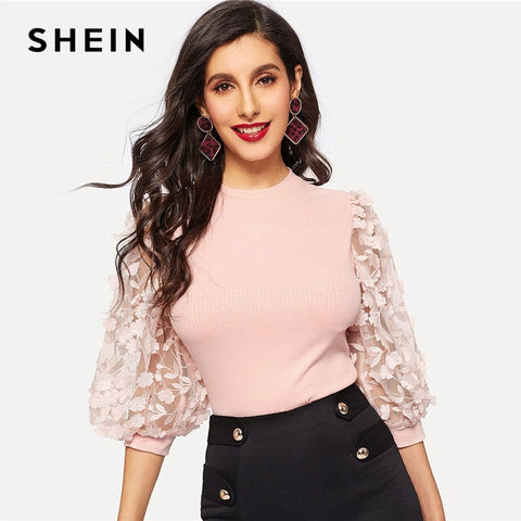 41fd4b0ba6 SHEIN Pink Lady Elegant Bishop Sleeve Lace Floral Appliques Rib-Knit Tee Women  Spring Casual