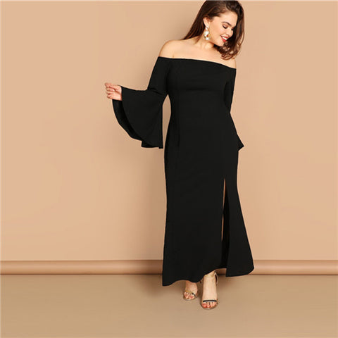 2cbd4b089e SHEIN Plus Size Black Bell Sleeve Slit Front Fishtail Bardot Ruffle Hem  Sheath Dress Women 2019