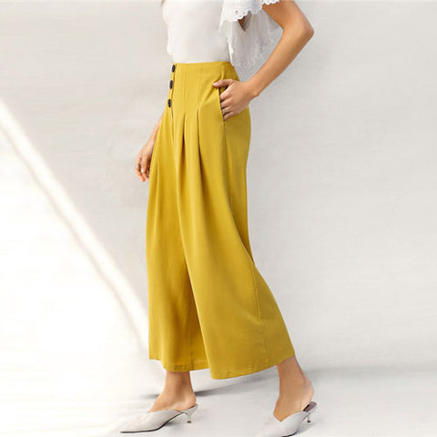 51f2739a1d SHEIN Lady Zip Back Buttoned Front Pleated Wide Leg Pants Women Spring –  Grace and Elegance