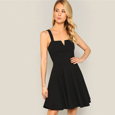 3a2599e9989 SHEIN Lady Summer Zip Back Pleated Black Dress Solid Sleeveless V Neck –  Grace and Elegance