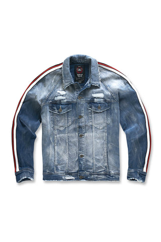 Kids Grand Prix Striped Denim Jacket (Aged Wash)