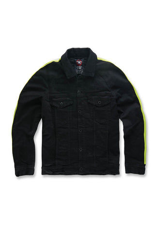Jordan Craig - Big Men's Grand Prix Striped Denim Jacket (Black Volt)