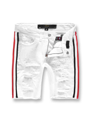 Jordan Craig - Kids Daytona Striped Denim Shorts (White)