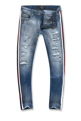 Jordan Craig - Sean - Grand Prix Striped Denim (Aged Wash)