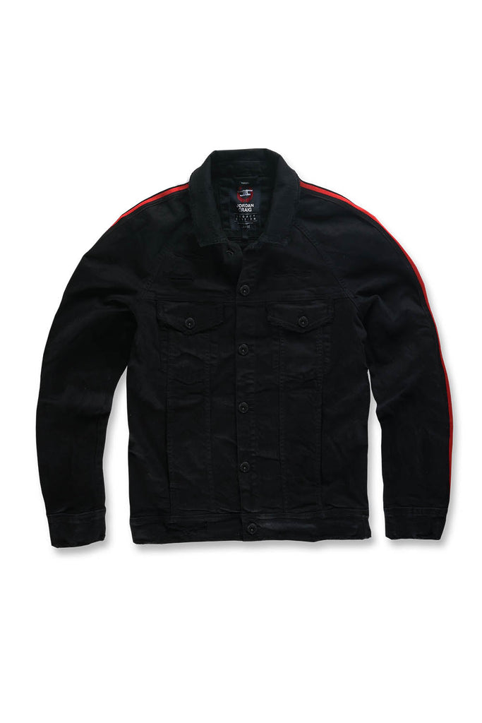 Jordan Craig - Grand Prix Striped Denim Jacket (Jet Black)