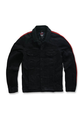 Grand Prix Striped Denim Jacket (Jet Black)