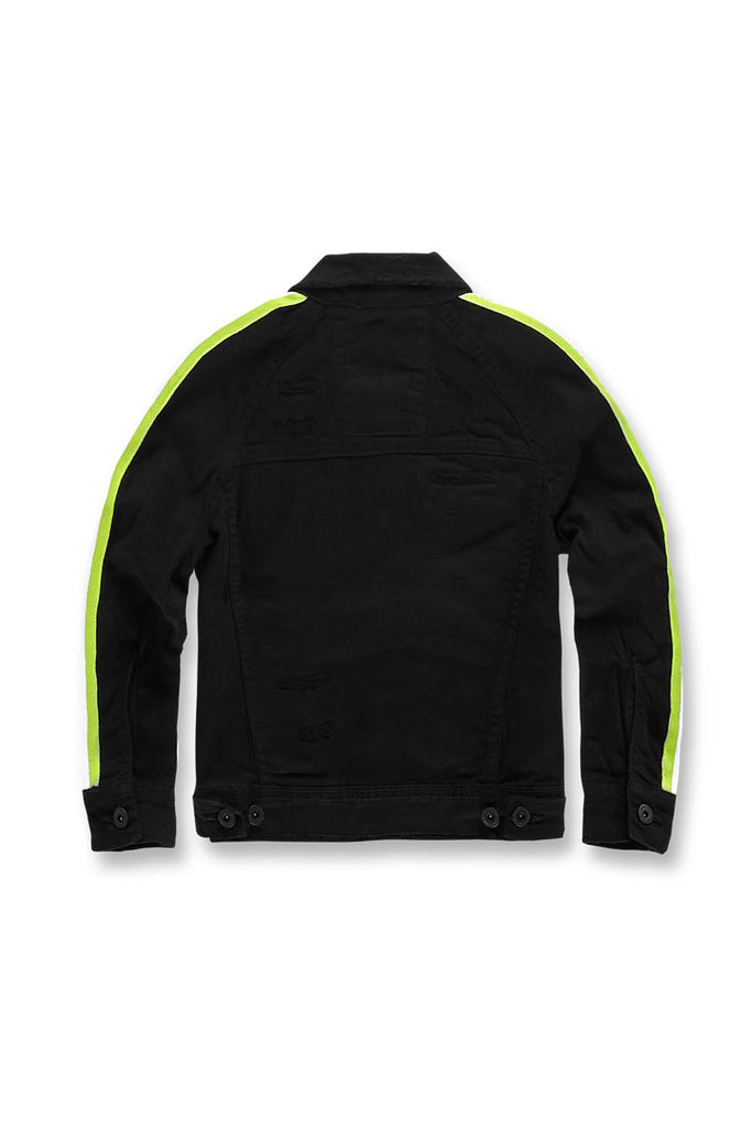 Jordan Craig - Kids Grand Prix Striped Denim Jacket (Black Volt)