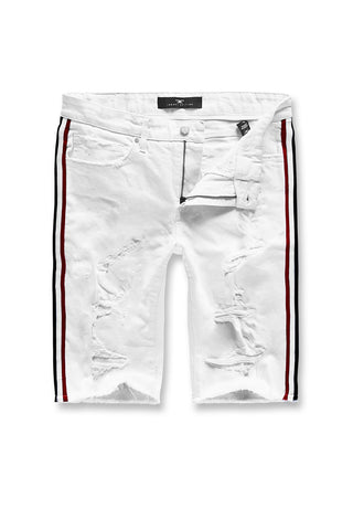 Jordan Craig - Big Men's Daytona Striped Shorts (White)