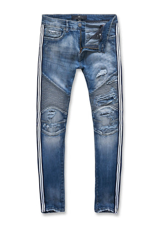 Sean - Diablo Striped Biker Denim (Aged Wash)