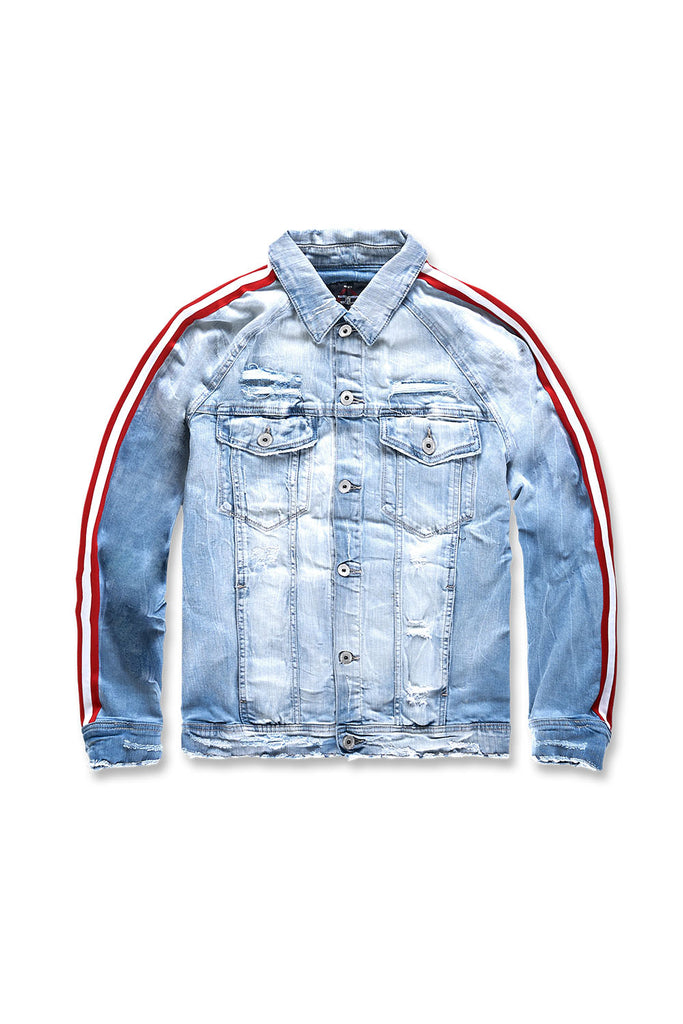 Jordan Craig - Big Men's Grand Prix Striped Denim Jacket (Ice Blue)