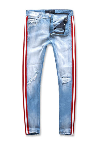 Jordan Craig - Big Men's Grand Prix Striped Denim (Ice Blue)