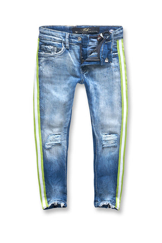 Kids Grand Prix Striped Denim (Aged Wash)