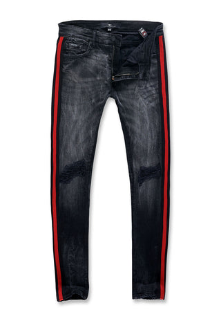 Jordan Craig - Sean - Grand Prix Striped Denim (Black Shadow)