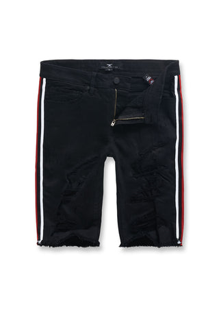 Jordan Craig - Big Men's Daytona Striped Shorts (Jet Black)