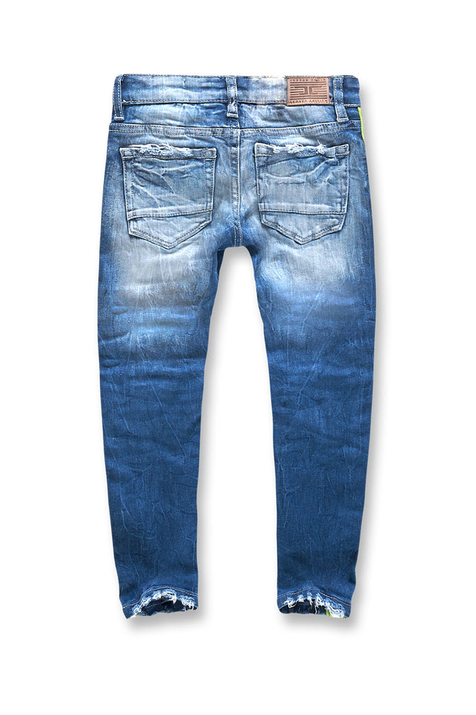 Jordan Craig - Kids Grand Prix Striped Denim (Aged Wash)