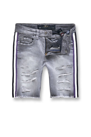 Jordan Craig - Kids Daytona Striped Denim Shorts (Grape)