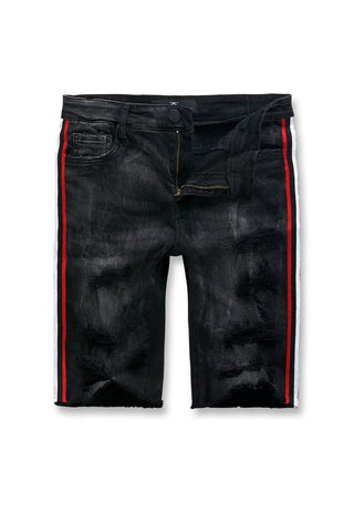 Jordan Craig - Big Men's Daytona Striped Denim Shorts (Black Shadow)