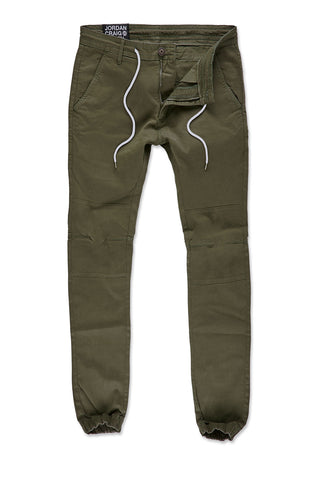 Sean - Stacked Chino Joggers (Army Green)
