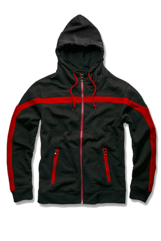 Essential Fleece Track Hoodie (Crimson)
