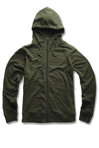 French Terry Essential Zip Up Hoodie (Army Green)