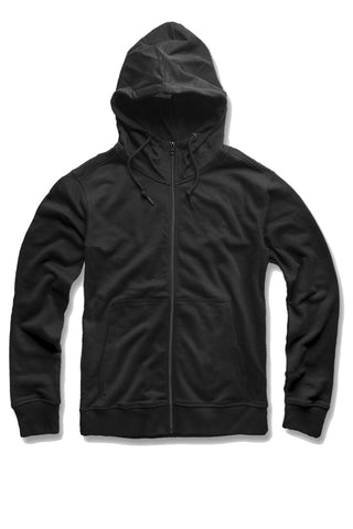 French Terry Essential Zip Up Hoodie (Black)