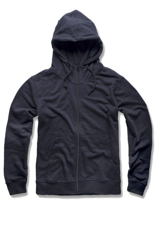 French Terry Essential Zip Up Hoodie (Navy)