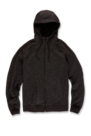 Melange Uptown Zip Up Hoodie (Black Shadow)
