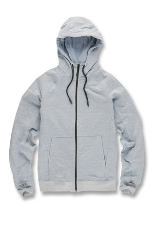 Melange Uptown Zip Up Hoodie (Ice Blue)