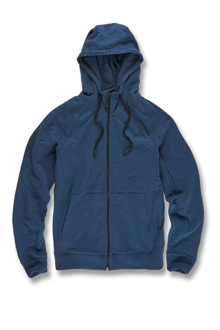Melange Uptown Zip Up Hoodie (Royal Navy)