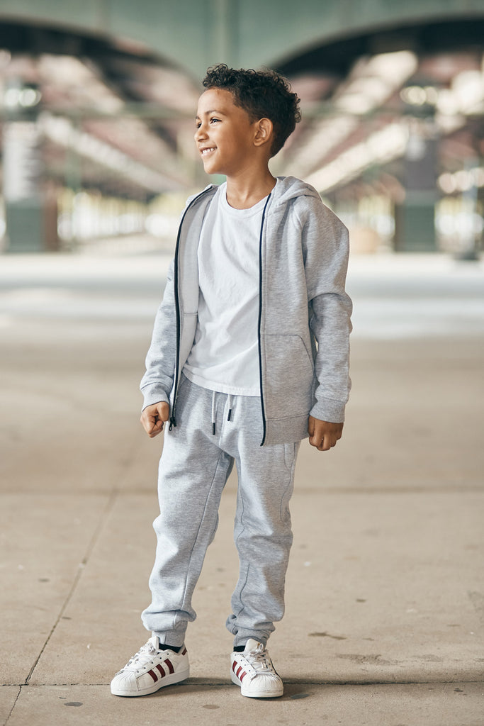 Jordan Craig - Kids Uptown Zip Up Hoodie (Heather Grey)