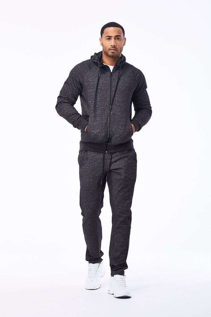 Jordan Craig - Melange Uptown Zip Up Hoodie (Black Shadow)