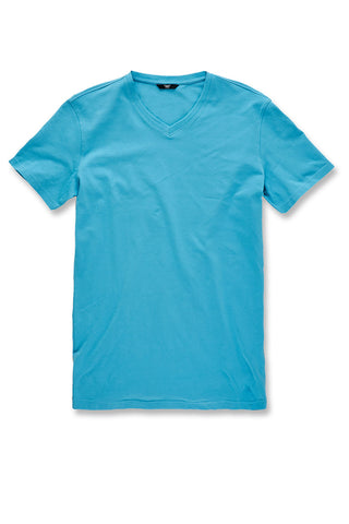 Premium V-Neck T-Shirt (Blue Coral)