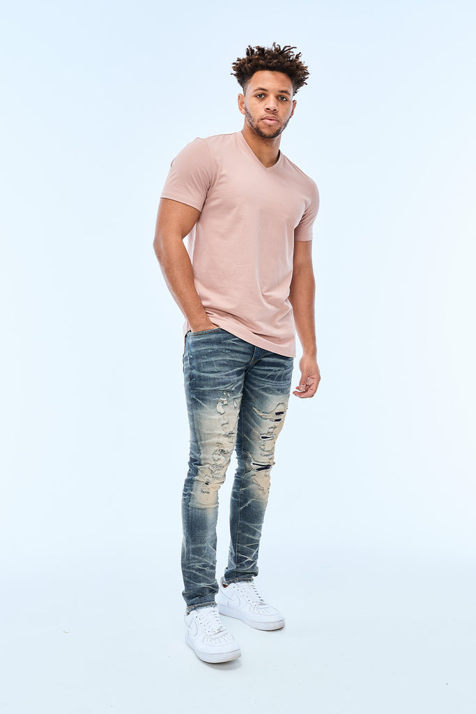 Premium V-Neck T-Shirt (Dusty Rose)