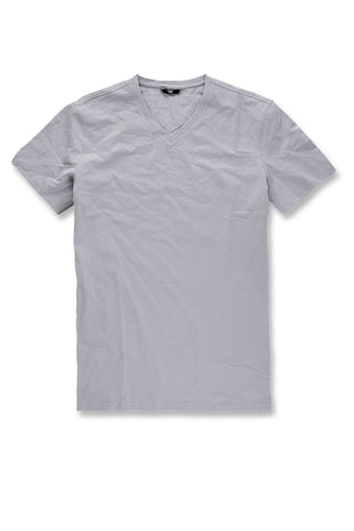 Premium V-Neck T-Shirt (Light Grey)