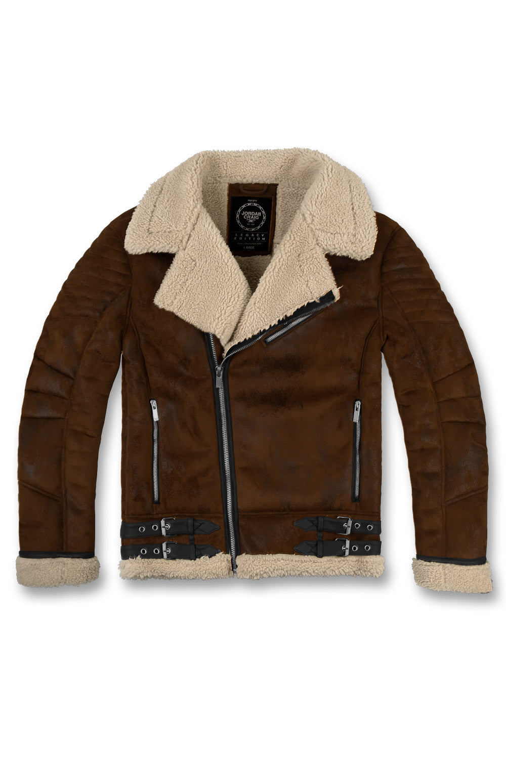 Jordan Craig - Big Men's Suede Moto Sherpa Jacket