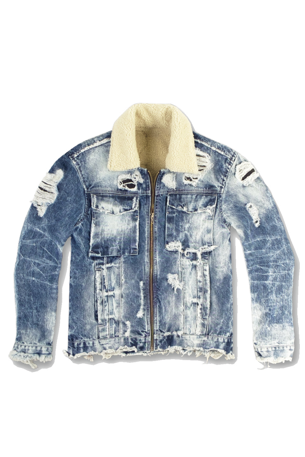 Jordan Craig - Kids New School Sherpa Trucker Jacket (Destroyed Blue)