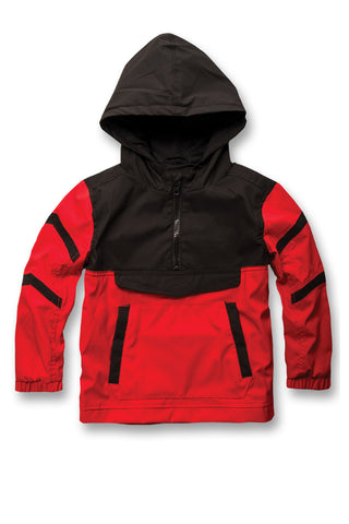 Kids Pullover Striped Windbreaker (Red)
