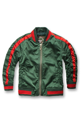 Kids Contrast Stripe Bomber Jacket (Green)
