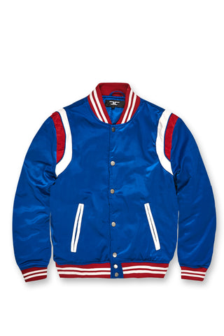 Jordan Craig - Kids Geneva Satin Varsity Jacket (Royal)