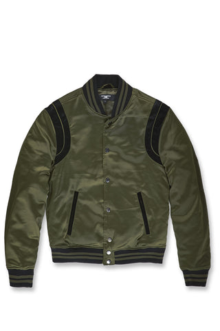 Jordan Craig - Big Men's Geneva Satin Varsity Jacket (Army Green)