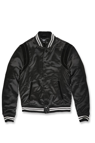 Jordan Craig - Big Men's Geneva Satin Varsity Jacket (Jet Black)