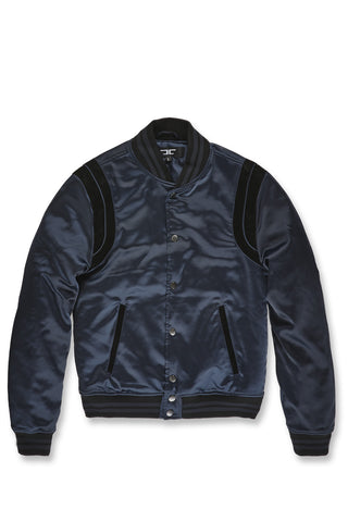 Jordan Craig - Big Men's Geneva Satin Varsity Jacket (Midnight)