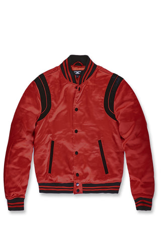 Jordan Craig - Big Men's Geneva Satin Varsity Jacket (Red)