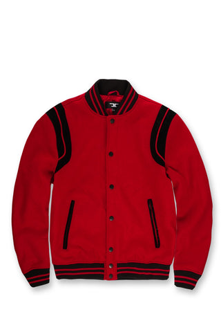 Madison Wool Varsity Jacket (Red)