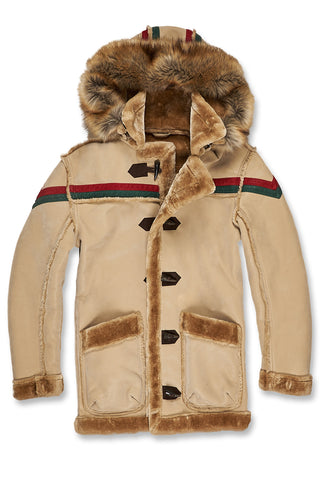 Tuscany Striped Shearling Jacket (Latte)