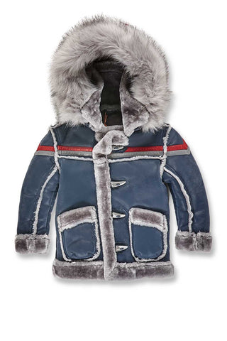 Kids Tuscany Striped Shearling Jacket (Navy)